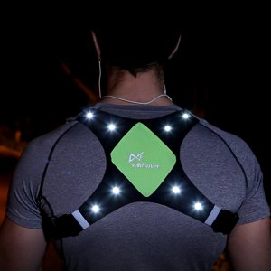 VEST WITH LED LIGHT AND LIGHT REFLECTOR FOR OUTDOOR SPORTS