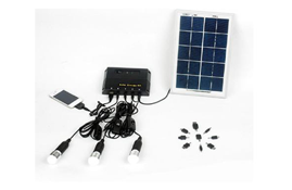 Solar panel with universal chargers and LED light
