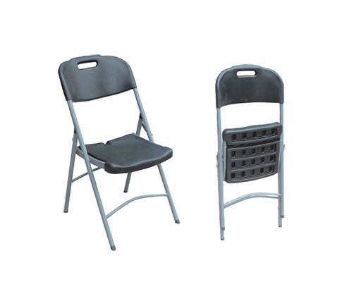 Plastic and metal folding chair