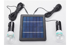 Solar panel with two LED bulbs