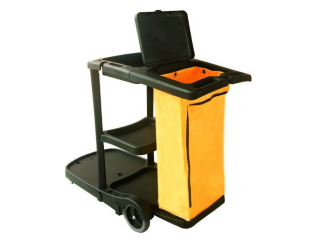 Janitor cart with cover (black)