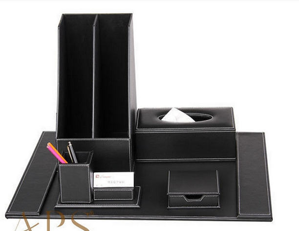Leather office stationery set